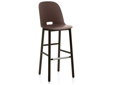 Emeco Outdoor Alfi Ash Wood Dark High Back Bar Stool with Dark Brown Seat and Back PatioLiving
