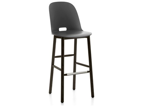 Emeco Outdoor Alfi Ash Wood Dark High Back Bar Stool with Dark Grey Seat and Back PatioLiving