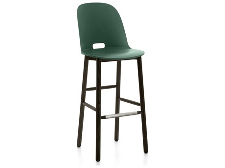 Emeco Outdoor Alfi Ash Wood Dark High Back Bar Stool with Green Seat and Back PatioLiving