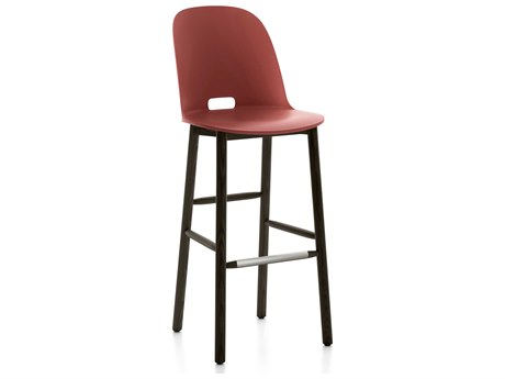 Emeco Outdoor Alfi Ash Wood Dark High Back Bar Stool with Red Seat and Back PatioLiving