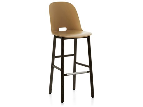 Emeco Outdoor Alfi Ash Wood Dark High Back Bar Stool with Sand Seat and Back PatioLiving
