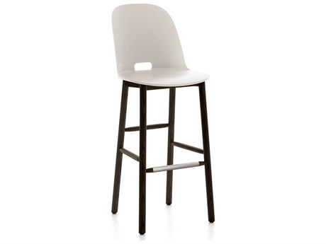 Emeco Outdoor Alfi Ash Wood Dark High Back Bar Stool with White Seat and Back PatioLiving