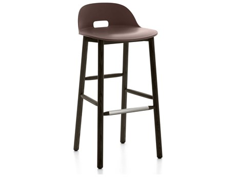 Emeco Outdoor Alfi Ash Wood Dark Low Back Bar Stool with Dark Brown Seat and Back PatioLiving