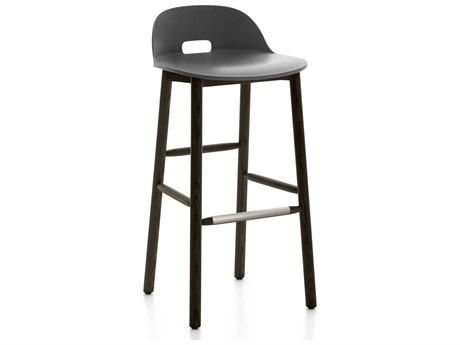 Emeco Outdoor Alfi Ash Wood Dark Low Back Bar Stool with Dark Grey Seat and Back PatioLiving