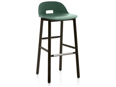 Emeco Outdoor Alfi Ash Wood Dark Low Back Bar Stool with Green Seat and Back PatioLiving