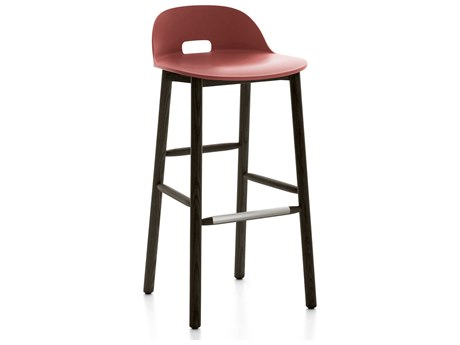 Emeco Outdoor Alfi Ash Wood Dark Low Back Bar Stool with Red Seat and Back PatioLiving