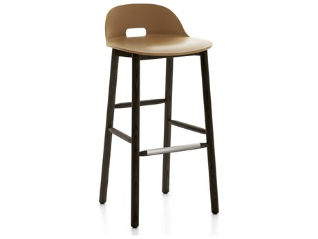 Emeco Outdoor Alfi Ash Wood Dark Low Back Bar Stool with Sand Seat and Back PatioLiving