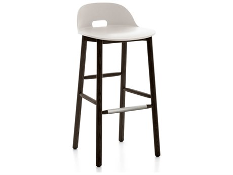 Emeco Outdoor Alfi Ash Wood Dark Low Back Bar Stool with White Seat and Back PatioLiving