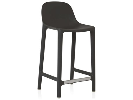 Emeco Outdoor Broom Reclaimed Dark Grey Side Stationary 24'' High Counter Stool PatioLiving