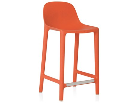 Emeco Outdoor Broom Reclaimed Orange 24'' High Counter Stool PatioLiving