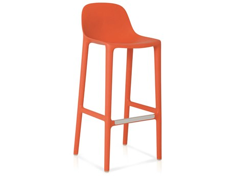 Emeco Outdoor Broom Reclaimed Orange 30'' High Bar Stool