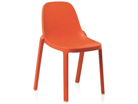 Emeco Outdoor Broom Reclaimed Orange Stackable  Dining Side Chair
