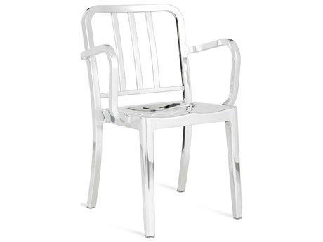 Emeco Outdoor Heritage Polished Aluminum Dining Arm Chair PatioLiving