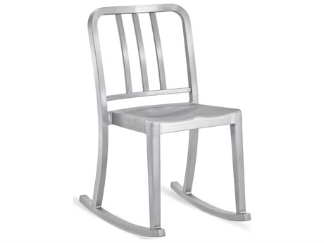Emeco Outdoor Heritage Brushed Aluminum Rocker Dining Side Chair