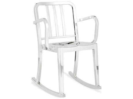 Emeco Outdoor Heritage Polished Aluminum Rocker Dining Arm Chair PatioLiving