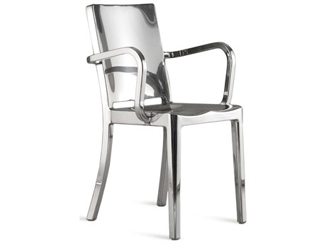 Emeco Outdoor Hudson Polished Aluminum Dining Arm Chair PatioLiving