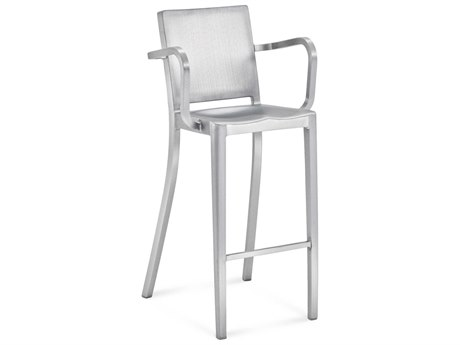 Emeco Outdoor Hudson Brushed Aluminum Bar Stool with Arms PatioLiving