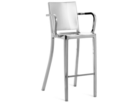 Emeco Outdoor Hudson Polished Aluminum Bar Stool with Arms PatioLiving
