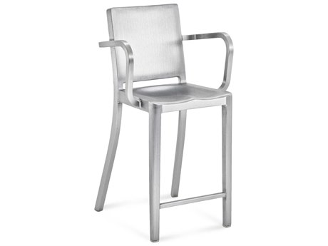 Emeco Outdoor Hudson Brushed Aluminum Counter Stool with Arms PatioLiving