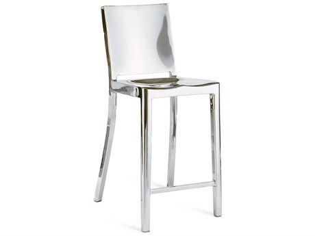 Emeco Outdoor Hudson Polished Aluminum Counter Stool with Arms PatioLiving