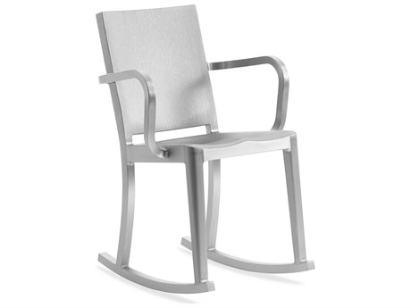 Emeco Outdoor Hudson Brushed Aluminum Rocker Dining Arm Chair PatioLiving