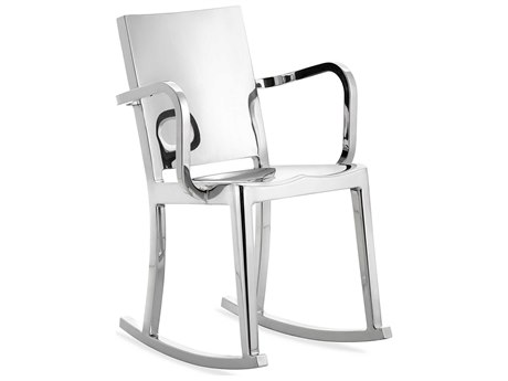 Emeco Outdoor Hudson Polished Aluminum Rocker Dining Arm Chair PatioLiving