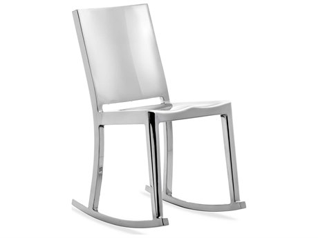 Emeco Outdoor Hudson Polished Aluminum Rocker Dining Side Chair