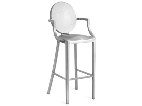 Emeco Outdoor Kong Brushed Aluminum Bar Stool with Arms PatioLiving