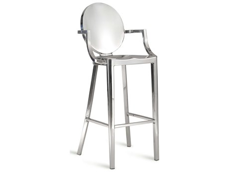 Emeco Outdoor Kong Polished Aluminum Bar Stool with Arms PatioLiving