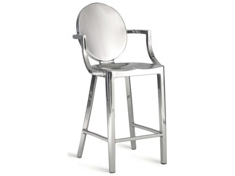 Emeco Outdoor Kong Polished Aluminum Counter Stool wit Arms PatioLiving