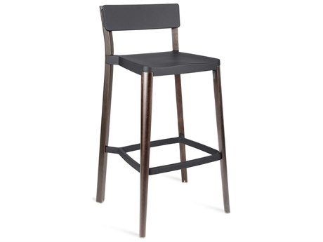 Emeco Outdoor Lancaster Ash Wood Dark Bar Stool with Dark Grey Seat and Back PatioLiving