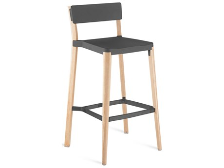 Emeco Outdoor Lancaster Ash Wood Bar Stool with Dark Grey Seat and Back PatioLiving
