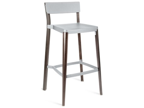 Emeco Outdoor Lancaster Ash Wood Dark Bar Stool with Light Grey Seat and Back PatioLiving