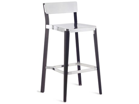 Emeco Outdoor Lancaster Ash Wood Dark Bar Stool with Polished Seat and Back PatioLiving