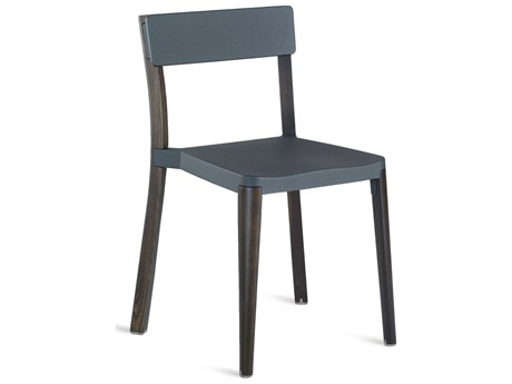 Emeco Outdoor Lancaster Ash Wood Dark Dining Side Chair with Dark Grey Seat and Back PatioLiving