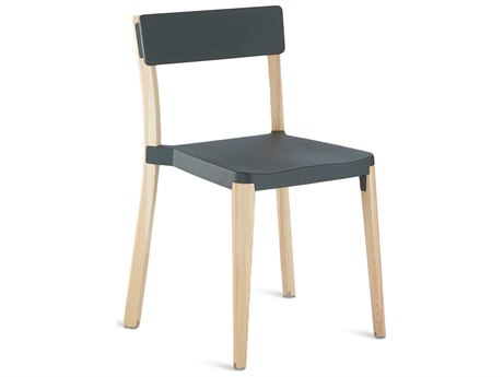 Emeco Outdoor Lancaster Ash Wood Dining Side Chair with Dark Grey Seat and Back PatioLiving
