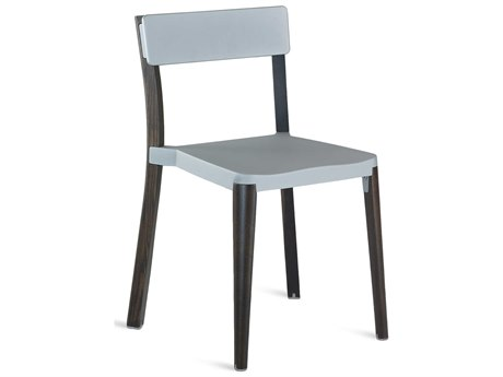 Emeco Outdoor Lancaster Ash Wood Dark Dining Side Chair with Light Grey Seat and Back PatioLiving