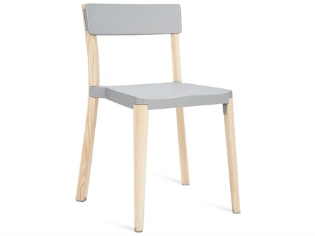 Emeco Outdoor Lancaster Ash Wood Dining Side Chair with Light Grey Seat and Back PatioLiving