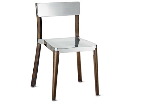 Emeco Outdoor Lancaster Ash Wood Dark Dining Side Chair with Polished Seat and Back PatioLiving