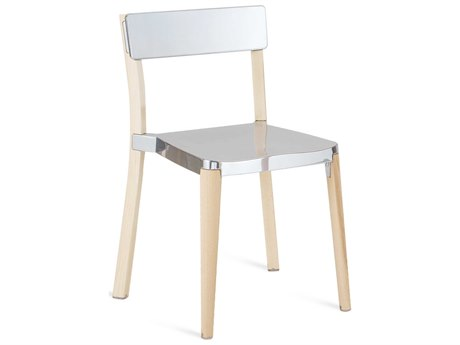 Emeco Outdoor Lancaster Ash Wood Dining Side Chair with Polished Seat and Back PatioLiving