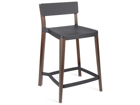 Emeco Outdoor Lancaster Ash Wood Dark Counter Stool with Dark Grey Seat and Back PatioLiving