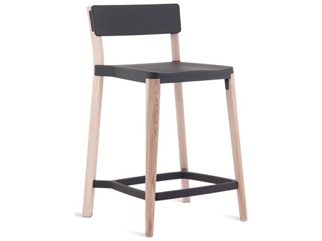 Emeco Outdoor Lancaster Ash Wood Counter Stool with Dark Grey Seat and Back PatioLiving