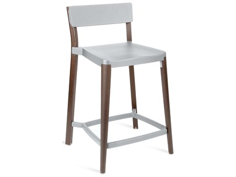 Emeco Outdoor Lancaster Ash Wood Dark Counter Stool with Light Grey Seat and Back PatioLiving