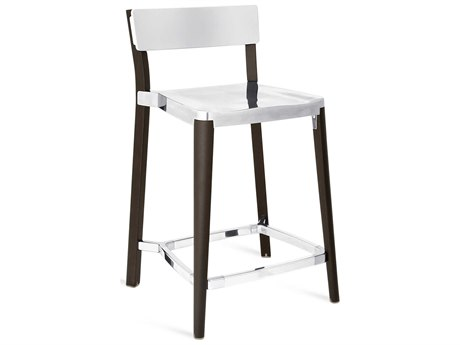 Emeco Outdoor Lancaster Ash Wood Dark Counter Stool with Polished Seat and Back PatioLiving