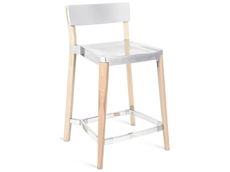 Emeco Outdoor Lancaster Ash Wood Counter Stool with Polished Seat and Back PatioLiving