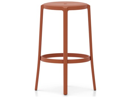 Emeco Outdoor On & On Recycled Plastic Coral Orange Bar Stool