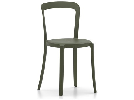 Emeco Outdoor On & On Recycled Plastic Cypress Green Stackable Dining Side Chair