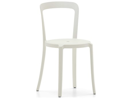 Emeco Outdoor On & On Recycled Plastic Stockholm White Stackable Dining Side Chair