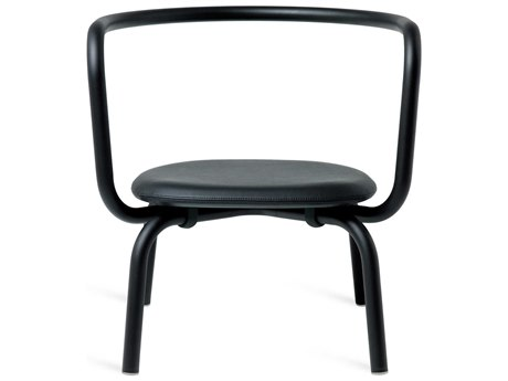Emeco Outdoor Parrish By Konstantin Grcic Aluminum Black Lounge Chair with Black Leather Seat PatioLiving