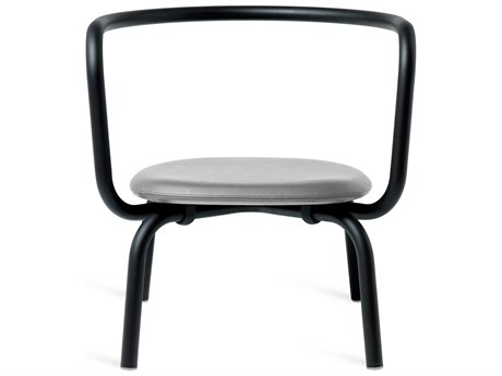 Emeco Outdoor Parrish By Konstantin Grcic Aluminum Black Lounge Chair with Grey Leather Seat